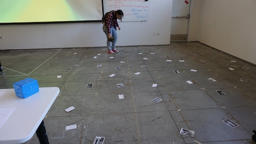 Student playing immigration game
